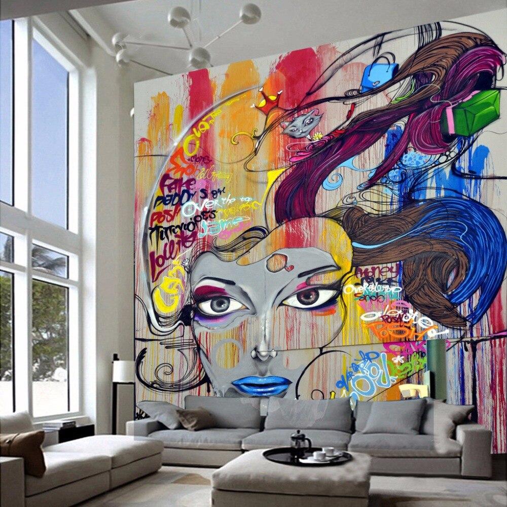 Benutzerdefinierte Tapete Wandmalereien 3D Schönheit Graffiti ...