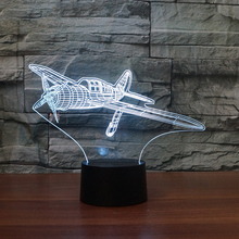 Bedroom Decoration Kids Sleep Light 3D USB Fix-Wing Aircraft Table Lamp LED Colorful Plane Night Light For Birthday Holiday Gift цена и фото