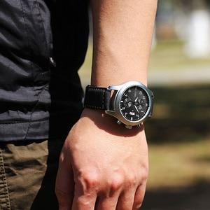Image 5 - SINOBI Mens Chronograph Sport Horloges Mannen Militaire Lederen Horloge Luxe Merk Mannelijke Quartz Klok Horloges Relogio Masculino