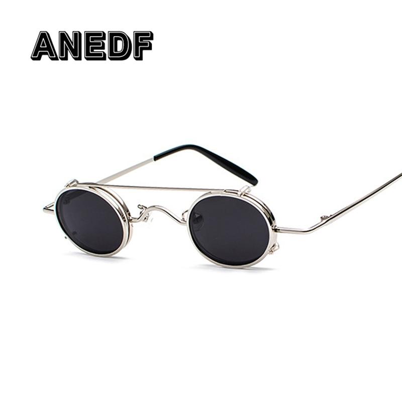 ANEDF Gothic Steampunk óculos de Sol Das Mulheres Dos Homens de Metal  Rodada Shades Marca Designer b0191fa62a
