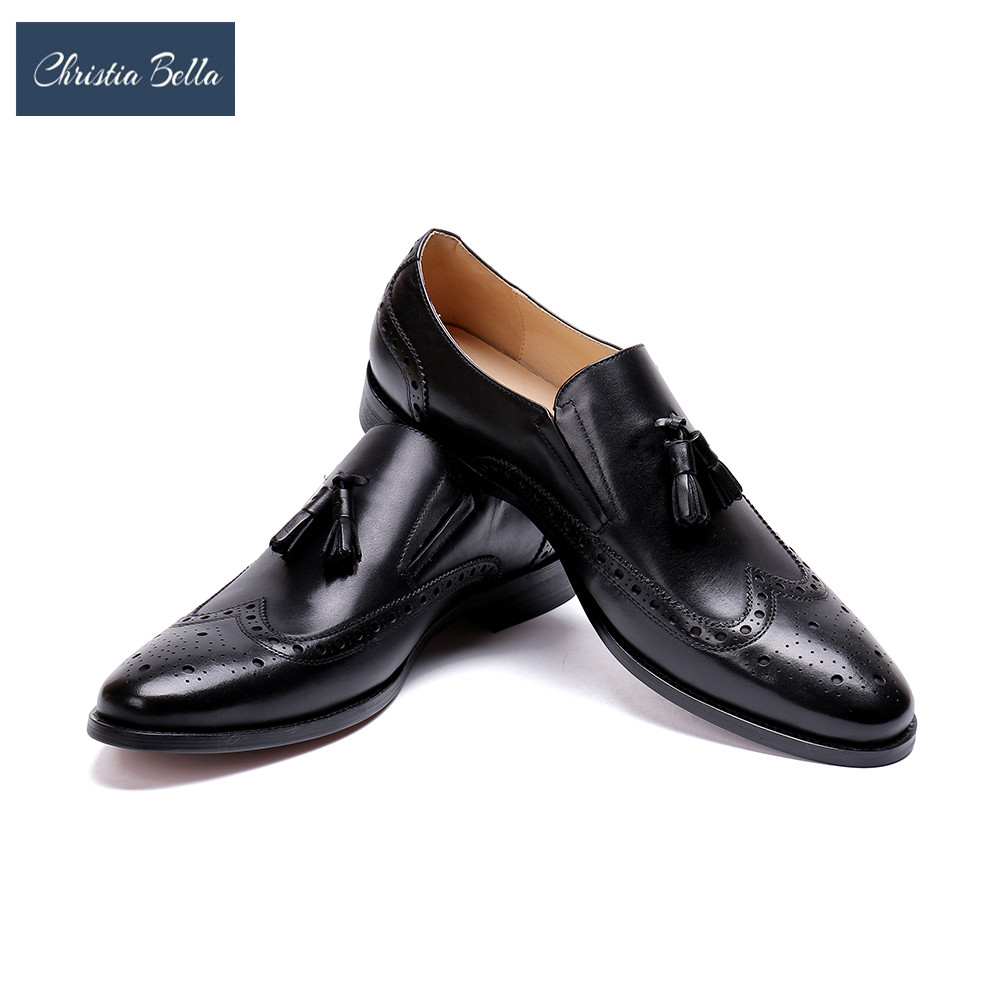 Christia Bella Genuine Leather Men Shoes Tassel Loafer Wedding Party Dress Shoes Slip On Black Brogue Shoe Plus Size 38-48 christia bella men pointed toe genuine leather slip on british formal dress shoes vogue summer slippers oxfords plus size 38 47