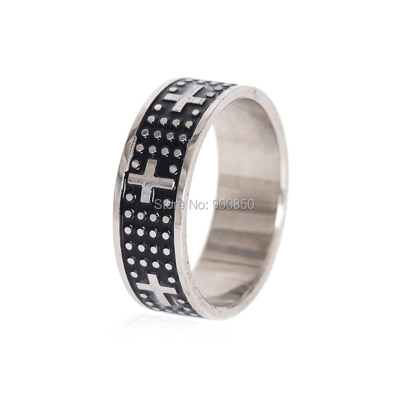 Size 17 22 Cool Cross Electrocardiogram Pattern Men Stainless Steel Rings For Male Wedding Jewelry Finger In From Accessories On