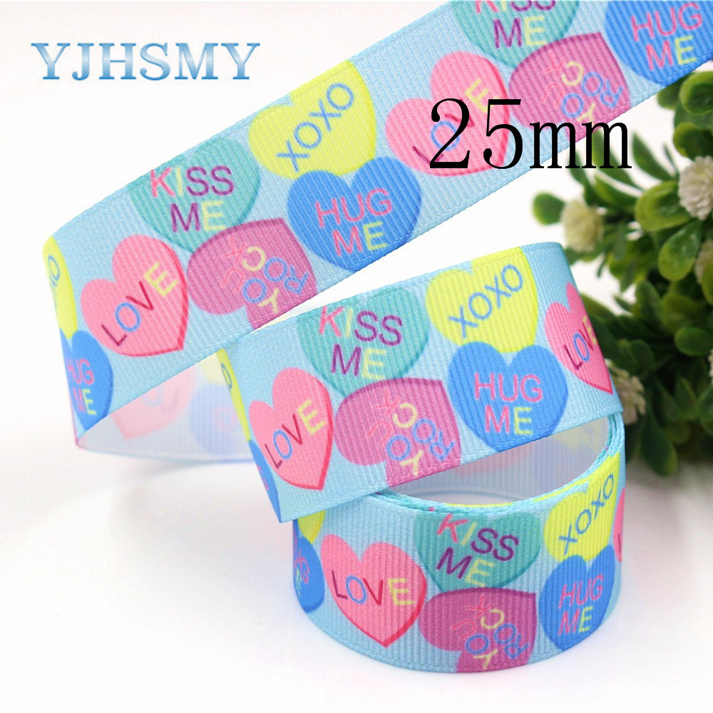 YJHSMY G-18616-516,25 mm 10 yard Love heart Ribbons Thermal transfer Printed grosgrain Wedding Accessories DIY handmade material