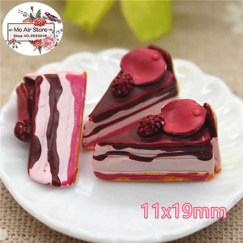 10PCS Chocolate Cake Dessert Resin Flat Back Cabochon Imitation Food Art Supply Decoration Charm Craft