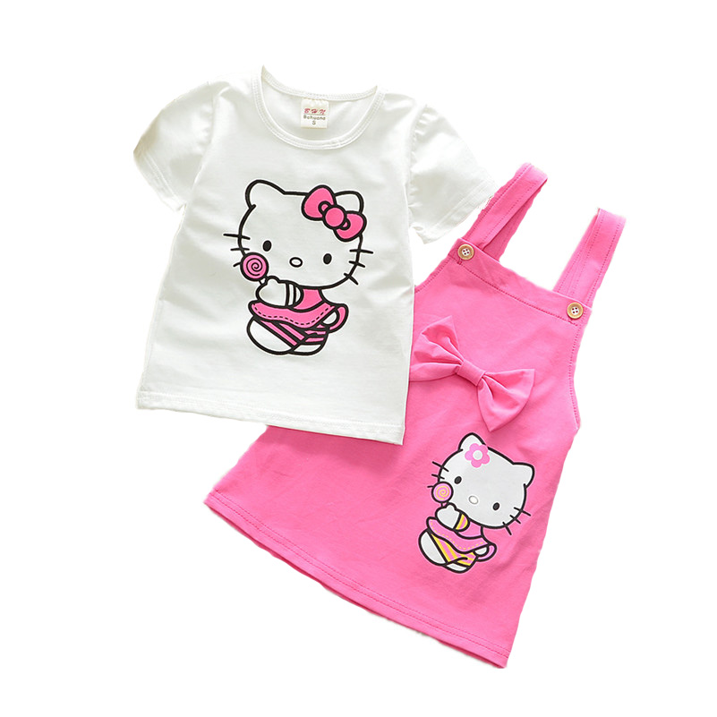 2pcs Suit Girls Dress Cute Cartoon Cat Dresses Kids Girls Clothes Children Summer 2018 Toddler Girl Clothing Sets Casual Fashion 2018 little girls 2 pieces tutu skirt clothing sets summer cartoon cute cat toddler girl short tops lace skirts kids outfits