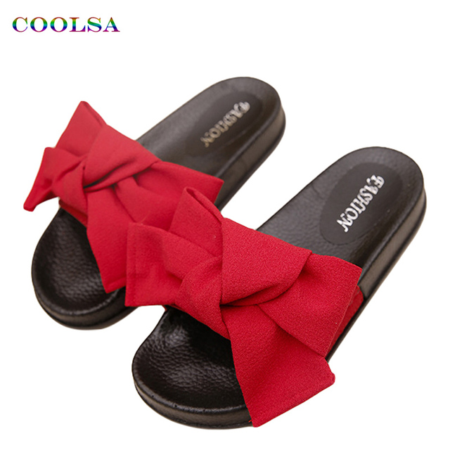 COOLSA New Women Bow Slippers Hemp Fabric Butterfly-knot Slides Rubber Flat  Sandals Home Slippers Casual Plus Size Women s Shoes ea0f5b0745de