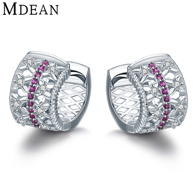 Mdean 4Gram Ruby Jewelry Genuine 925 Sterling Silver CZ Diamond Sterling-Silver-Jewelry Hoop Earrings for Women MSE343