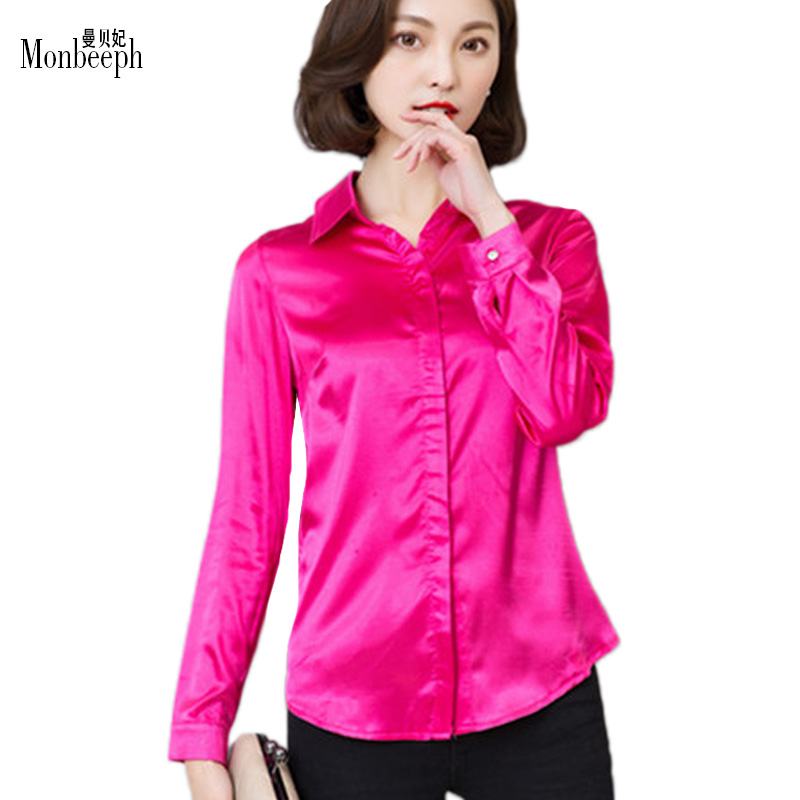 Monbeeph Women silk satin blouse button long sleeve lapel ladies office OL  work shirts elegant female satin silk blouses shirt - Online Get Cheap Silk Blouses For Work -Aliexpress.com Alibaba Group