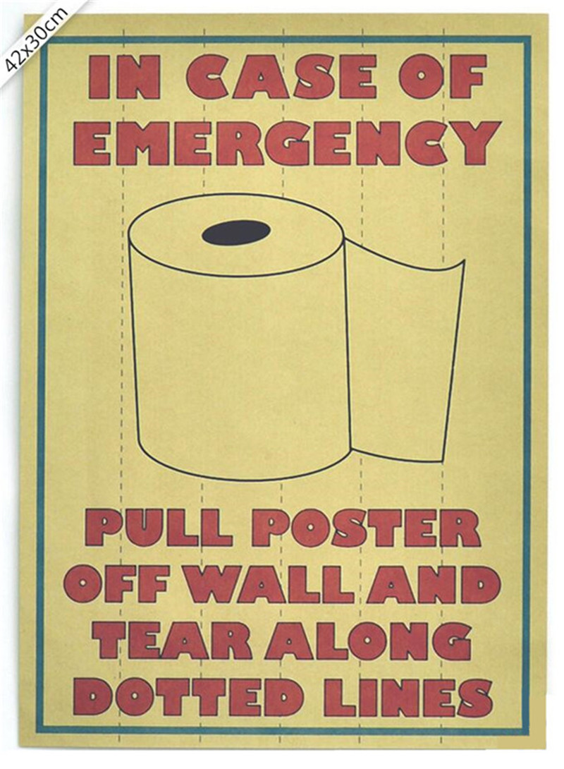 Creative Vintage In Case of Emergency For the Toilet Poster <font><b>Wall</b></font> <font><b>Sticker</b></font> <font><b>Retro</b></font> Kraft Paper Bar Home Decor Wallpaper 42x30cm image