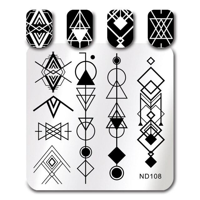 NICOLE TAGEBUCH Nail Stamping Platten Platz Geometrische Muster Nail ...
