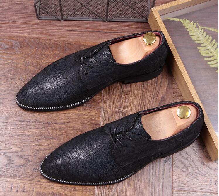 Augmenté Chaussures Robe Dentelle Relief Noir Les En Bout Mariage Mode Britannique De Pointu up Tous Cuir Match D'affaires qrtxTawFq