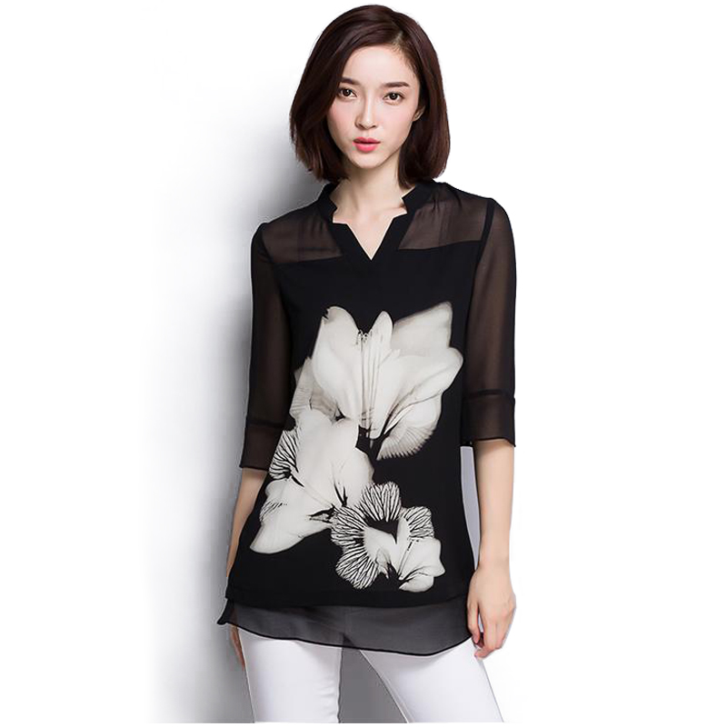 2016 Hot sale women chiffon  Blouse large size Casual black Chiffon Floral Print V Neck long Sleeve Elegant shirts women 60C 25