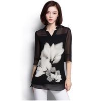 2016 Hot Sale Women Chiffon Blouse Large Size Casual Black Chiffon Floral Print V Neck Long
