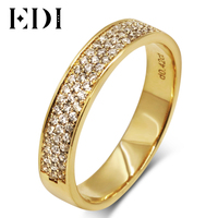 EDI European Countess 18K Yellow Gold Ring For Couple Noble Temperament Real Diamond Wedding Stack Ring For Women Jewelry
