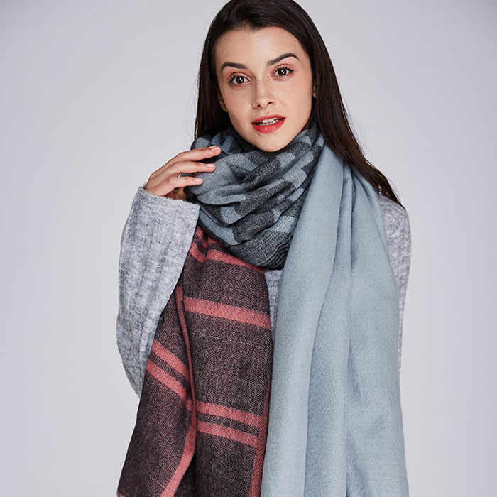 2017 winter Women Scarf worsted unisex acrylic basic wrap shawls scarves female knitted fall pashmina tartan plaid scarf