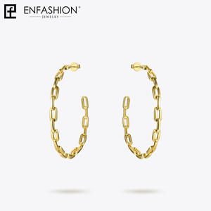 Image 3 - Enfashion Pure Form Link Chain Hoop Earrings For Women Big Circle Hoops Gold Color Earings Jewelry Aros Orecchini Cerchio EF1083