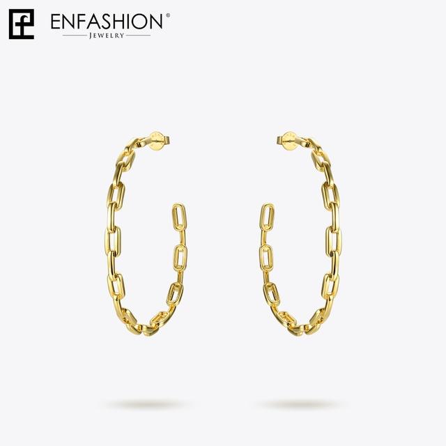 Фото женские круглые серьги кольца enfashion из звеньев с цепочкой