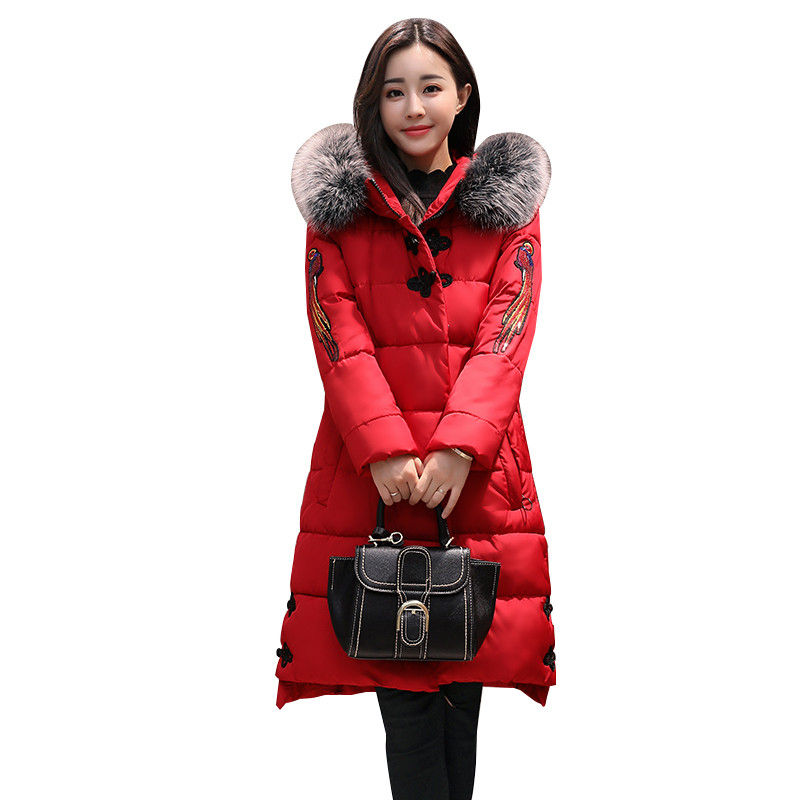 NEW Oversized Coats Embroidery Winter Jacket Women Hooded Fur Collar Long Winter Jacket Women's Down Cotton Coat Parka 5XL C3723 100% white duck down women coat fashion solid hooded fox fur detachable collar winter coats elegant long down coats