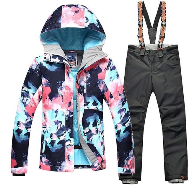 00f663b73b GSOU SNOW Winter -35 Degree Women Ski Suit Female Snowboarding Suits  Waterproof 10K Super Warm Skiing jacket+Pants Outdoor Sport
