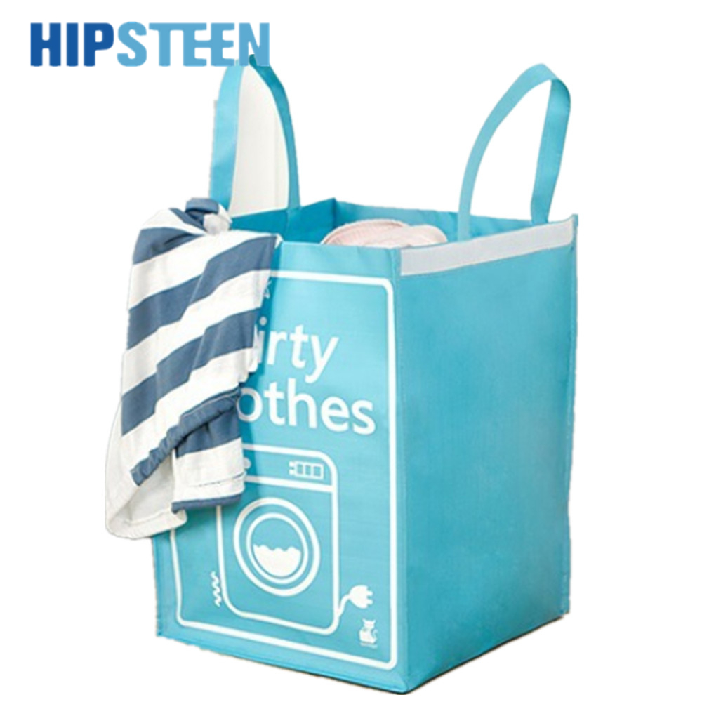 HIPSTEEN Pink Folding Household Laundry Storage Woven Bag Dirty Clothes Basket Holder
