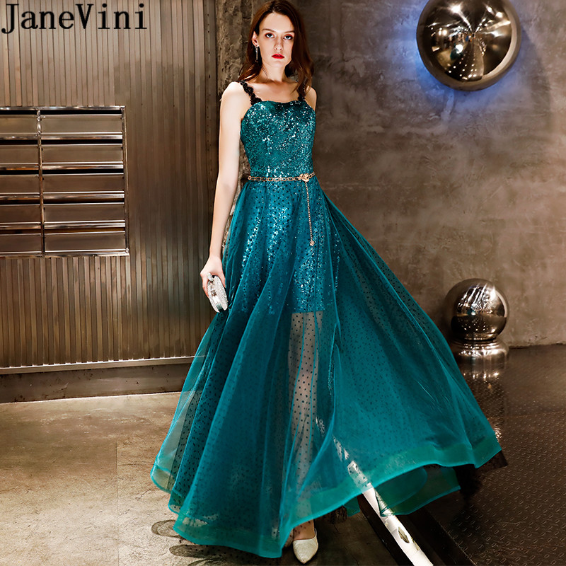 JaneVini Shiny Sequins Girls Prom Dress Gold Sash Spaghetti Straps See Through Bling Bridesmaid Dresses Long Wedding Guest Gowns