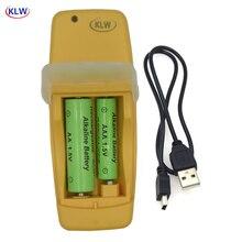 2 slots usb inteligente carregador de bateria para recarregável alcalino aa aaa aaaa 1.5v bateria mini moda amarelo carregador display led