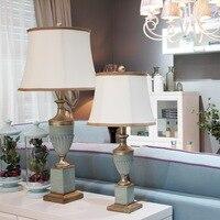 Europese klassieke tafellampen blauw warm study woonkamer slaapkamer bed verlichting tafel lichten hars + stof ZA FG949