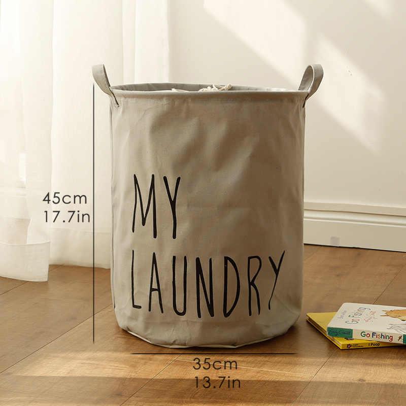 Puting Portátil Roupa Suja cesta do brinquedo saco de armazenamento grande caixa de cesta de lavagem de roupa de Linho de Algodão lavar a minha roupa