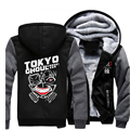 Free Shipping USA size Men Women Anime Tokyo Ghoul Ken Kaneki Hoodie Zipper Coat Clothing Jacket Thicken