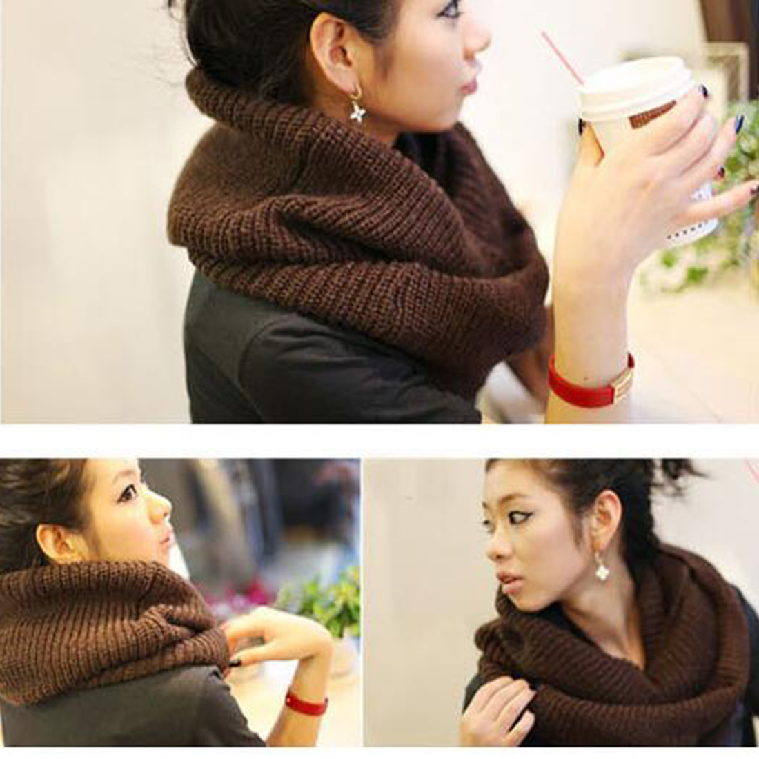 New Bob Winter Scarf Knitted Soft Wool Collar Solid Color Neck Warmer Shawl Wraps Warmer Crochet Women Scarves Female Scarves in Women 39 s Scarves from Apparel Accessories
