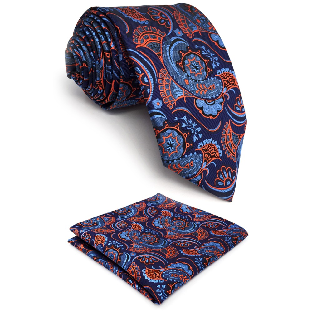 C13 Navy Orange Abstract Paisley Silk Mens Necktie Set Fashion Wedding Hanky Classic Dress Ties for male extra long size 63
