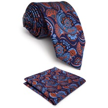 C13 Navy Orange Abstract Paisley Silk Mens Ties Necktie Fashion Wedding Hanky Classic Dress for male extra long size