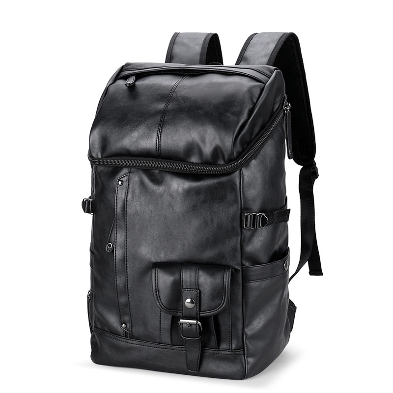 Mens Backpack Black Leather Solid Travel Bag Men 14-inch Laptop Backbag Male Leisure High Capacity Mochila Hiking Backpacks Mens Backpack Black Leather Solid Travel Bag Men 14-inch Laptop Backbag Male Leisure High Capacity Mochila Hiking Backpacks