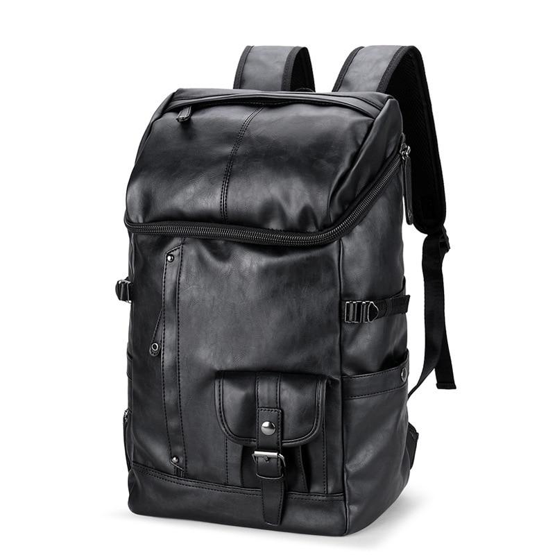 Mens Backpack Black Leather Solid Travel Bag Men 14-inch Laptop Backbag Male Leisure High Capacity Mochila Hiking BackpacksMens Backpack Black Leather Solid Travel Bag Men 14-inch Laptop Backbag Male Leisure High Capacity Mochila Hiking Backpacks