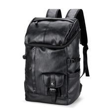 купить Men's Backpack Black Leather Solid Travel Bag Men 14-inch Laptop Backbag Male Leisure High Capacity Mochila Hiking Backpacks дешево
