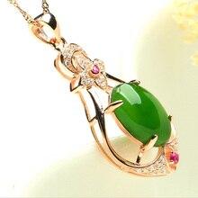 2018 módní S925 Plated Rose zlaté Jasper přívěsky Crystal ozdobný šarm ženy výročí dárek šperky náhrdelník