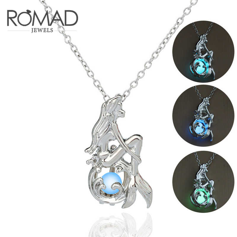 Luminous Glow In The Dark Fluorescent Mermaid Pendant Necklace For Women Jewelry Silver Chain Bohemia Fairy Necklace ketting Z3