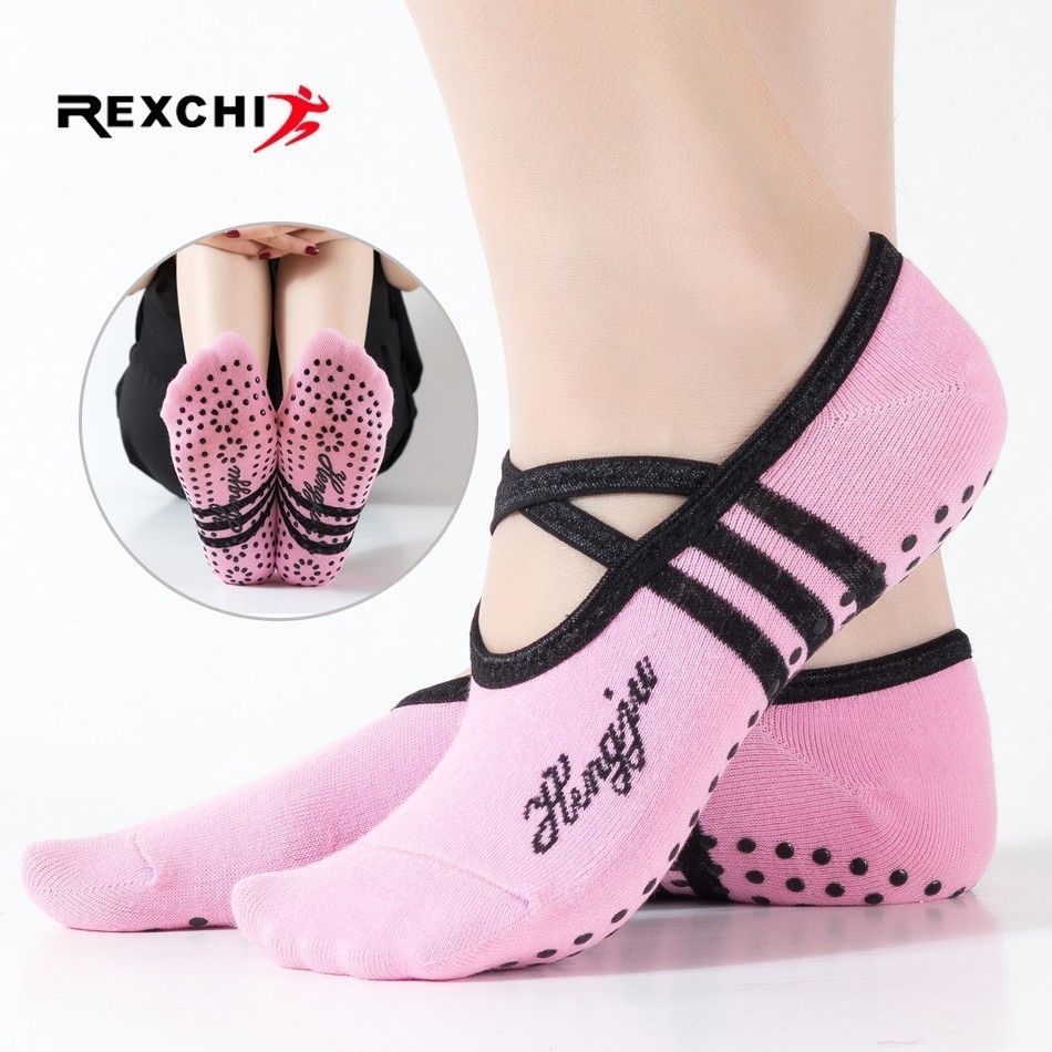REXCHI 1 Pair Sports Yoga Socks Slipper for Women Anti Slip Lady Damping Bandage Pilates Sock Ballet Heel Dance Protector