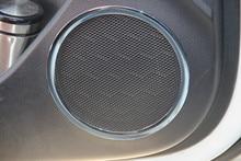 Стайлинга автомобилей, двери автомобиля стерео стикер ABS хромированной отделкой двери динамик кольцо круг, подходит для KIA Rio K2 2011-2014 2015 2016