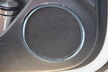 Estilo do carro, falante estéreo adesivo ABS Cromo guarnição da porta porta do carro círculo anel da tampa, indicado para KIA Rio K2 2011-2014 2015 2016