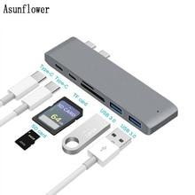 USB HUB USB C to HDMI RJ45 Gigabit Ethernet Thunderbolt 3 Adapter SD/TF Card Reader USB3.0 HUB Multi Splitter For Macbook Pro цена и фото