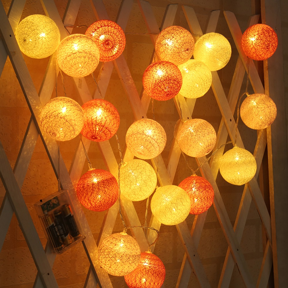 20leds Holiday Lights Cotton Ball Led Light String Pink Girl 2.2cm Dia 6cm Series Fairy Garland Christmas Wedding Decoration An Indispensable Sovereign Remedy For Home Outdoor Lighting Lighting Strings