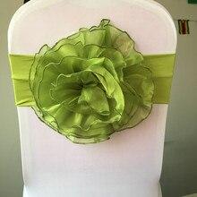 Flower chair band /chair sash wedding /organza 100 pcs Free Shipping