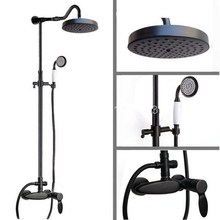 Black Oil Rubbed Bronze Wall Mount Rain Shower System Shower Head Hand Shower Faucet Mixer Tap Set ars727