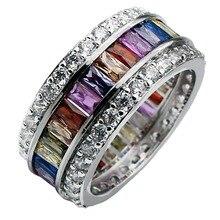 Hermosa Jewelry Rainbow Garnet Mulit Gem Stones 925 Sterling Silver Ring 6# 7# 8# 9# 10# 11# 12#