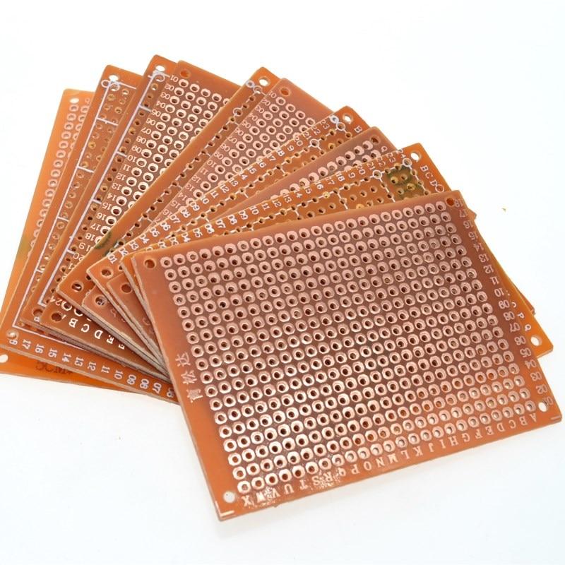 WAVGAT 10 шт. 5*7 PCB 5x7 PCB 5 см 7 см DIY Прототип бумаги PCB универсальная желтая плата