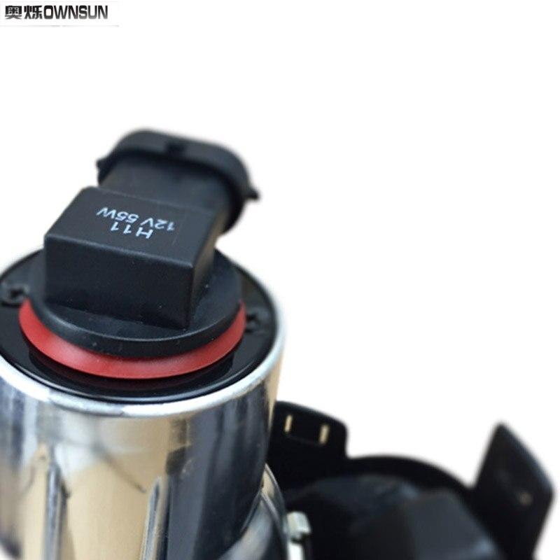 Ownsun COB Angel Eye Rings Projector Lens with 3000K Halogen Lamp Source Black Fog Lights Bumper Cover For VW Tiguan 2010-2012