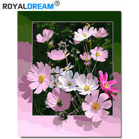 ROYALDREAM Pink flowers DIY Painting By Numbers Acrylic Paint By Numbers HandPainted Oil Painting On  Canvas  For Living Room chenistory pink europe flower diy painting by numbers acrylic paint by numbers handpainted oil painting on canvas for home decor