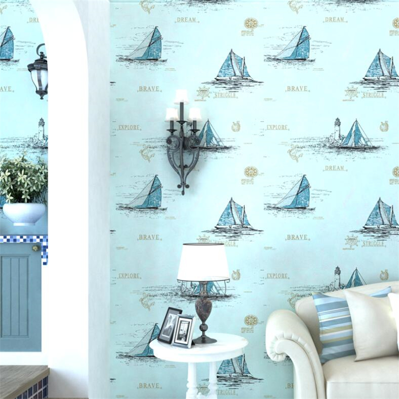 beibehang Mediterranean blue children's room wallpaper male girl cartoon bedroom non-woven sailing English sea wallpaper цена