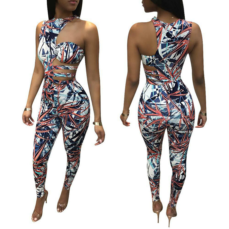 Fashion Leaf Print Bodycon Jumpsuit Romper One Shoulder Cut Out Casual jump Suit Skinny Bandage Summer Jumpsuit Women Overalls